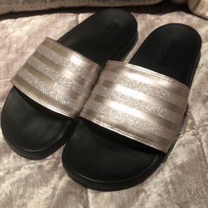 ADIDAS Rose Gold Sparkle Slide Slippers